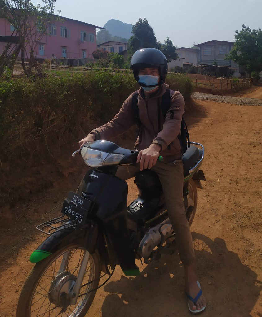 Going to the village for monitoring projects and wearing mask